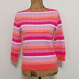 Lauren by RL• striped cable knit sweater•pinks